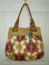 Fossil Coated Canvas Flowers Printed Hobo Tote Shoulder Bag Handbag Purse FS Key