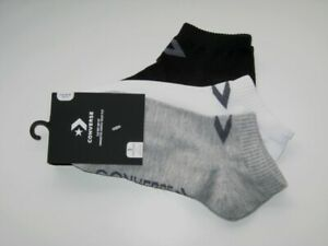 BNWT - CONVERSE Ladies Low Cut  Trainer Socks   3 Pairs  Black White Grey  6 - 8