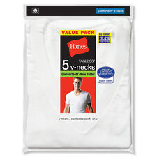 5-Pack Hanes Men's TAGLESS V-Neck Undershirt White