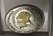 VTG NORTH AMERICAN HUNTING CLUB BELT BUCKLE LIFE MEMBER GOLD & SILVER NEW IN BOX