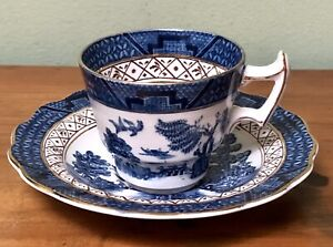 Antique BOOTHS REAL OLD WILLOW Pattern beautiful Demitasse Cup & Saucer