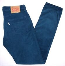 CLASSIC LEVIS WHITE TAB 511 SLIM FIT ZIP FLY BLUE CORDUROY CORD JEANS 33W 34L