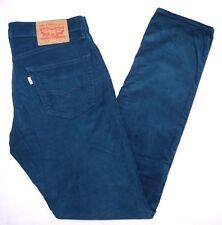Classique LEVIS blanc Tab 511 slim braguette zippée Bleu Velours Côtelé Cordon Jeans 33 W 34 L