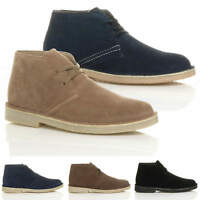 MENS FLAT LACE UP SMART WORK CASUAL SUEDE LEATHER ANKLE DESERT BOOTS SHOES SIZE