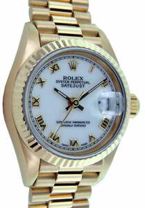ROLEX - Ladies 18kt Gold Datejust PRESIDENT White Roman 69178 - SANT BLANC