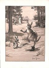 Stampa per bambini. CANGURO. Hop scotch.Rabbit.Duckling.Game.1930.H. rountree. Old