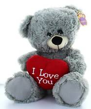 "13"" Grey Teddy Bear Soft Toy Plush Holding Big Red 'I Love You' Heart"