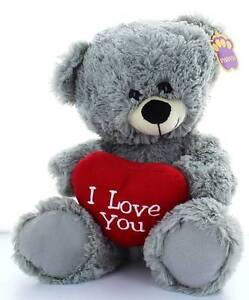 "13"" Grey Teddy Bear Soft Toy Plush Holding Big Red 'I Love You' Heart"