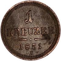 AUSTRIA coin 1 Kreuzer 1851 mint mark A