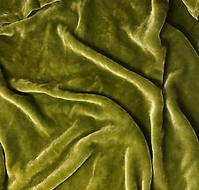 """Hand Dyed Silk VELVET Fabric YELLOW GREEN - 45"""" by the yard"""