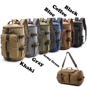 Men Leather Rucksack Travel Bag Shoulder Bag Outdoor Backpack Hiking School Bag