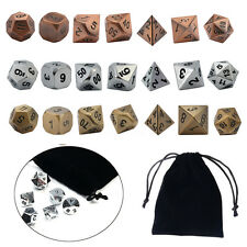 7Pcs/set Antique Metal Polyhedral Dice w Bag DND RPG MTG Role Playing Board Game
