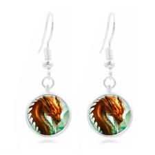Dragon Art Photo Tibet Silver Dome Photo 16MM Glass Cabochon Long Earrings #100