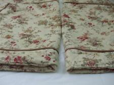 "2 Queen Pillow Shams Floral Butterfly Beige Yellow Rust Cording Border 35"" x 26"""