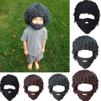 Unisex Adults Face Mask Hats Braided Beard Beanie Knit Hat