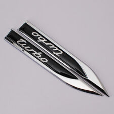 Black TURBO Emblem Sport Car Metal Knife Badge Emblem Decal Sticker Auto Parts