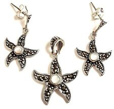MOTHER OF PEARL STARFISH EARRINGS Marcasite .925 STERLING SILVER (Free Pendant!)