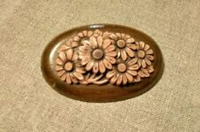 Vintage estate celluloid flowers on oval wood brooch circa 1940's