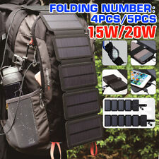 Folding Solar Panel 15W/20W Portable Camping Hiking Phone USB Charger Power Bank