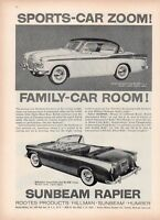 1958 Sunbeam PRINT AD Rapier Coupe de Sport & Convertible Roots Product Fun Deco