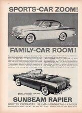 1958 Sunbeam Rapier Coupe de Sport & Convertible Roots Product PRINT AD