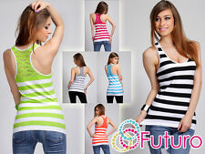 Womens Striped Slimming Wrap Top with Lace Anti-Cellulite Size UK 8-14 FG2570