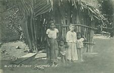 guatemala, C.A., Native Hut and Children en el Tropico (1910s)