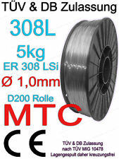 V2A 308L Edelstahl 1.4316 MT-308L Schweissdraht 1 1,0 mm 5kg MIG MAG Draht Rolle