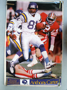 RARE ANTHONY CARTER VIKINGS 1990 VINTAGE SPORTS ILLUSTRATED SI NFL POSTER