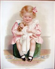 art print~DRESSING DOLLY~Victorian girl doll clothes child hassock vtg rep 11x14