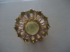 Brand New JCrew Crystal Sunburst Cocktail Ring 6 CLEAR