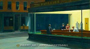 """Nighthawks"", Edward Hopper, Reproduction in Oil, 33 x 60"