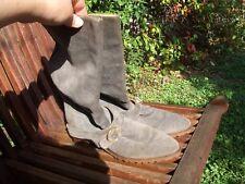 Stivali VERO CAMOSCIO grigio-blu N°38 Genuine chamois leather boots