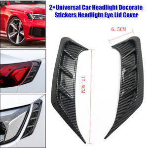 2×Universal Car Headlight Decorate Stickers Headlight Eye Lid Cover Carbon Color