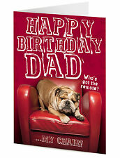 Joyeux Anniversaire Papa drôle grincheux French Bulldog Chien sur chaise rouge carte de voeux