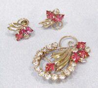 Vintage Art Deco 12K Gold Filled Pink & White Rhinestone Brooch & Earrings DS-35