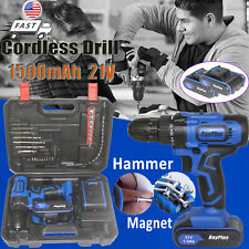 Powerful Cordless Drill Driver Electric Drill Screwdriver Kit 21V 45N.m & LED