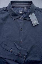 NWT Hugo Boss $195 Mens Slim Fit Elbow Patch Black Stretch Cotton Casual Shirt L