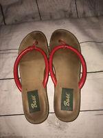 VTG RARE Bass Red Leather Strap Thong Flip Flops Size 8.5 Slip On Sandals