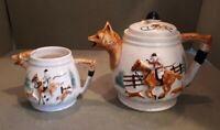Vintage Ceramic Teapot & Milk Jug Fox & Hounds Theme 24 x 16.5 cms