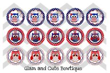 15-1in. Precut Bottle Cap Images Independence Day Cute Owls 4th Of July