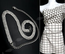 Fashion Ladies 5Row Diamante Rhinestone Belt Waist Chain Charm Belt in Silver