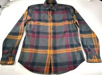 Express Men's Gray Plaid Long Sleeve Button Up 100% Soft Cotton Shirt Sz L