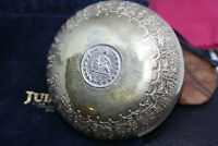 Vintage Solid Silver Pahlavi 1964 Rial Coin Engraved Bowl Order of Sun Lion 70Gr