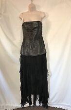 Sz 6- Max Azaria Collection- Black Leather Bandage Dress Chiffon Strapless