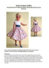 SINDY sewing pattern pour années 1950 dirndl jupe, chemisier et peut peut jupon