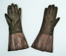 Vintage Pittards Brown Softest Leather Gloves Moc Croc Cuffs by CELLINI Size 6½
