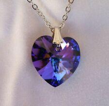 Swarovski Elements Crystal Heliotrope Color Blue Purple Necklace Heart Shape