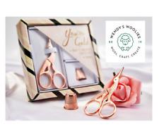 "Embroidery Stork Scissors & Thimble GIFT SET - 3.5"" Rose Gold CHRISTMAS Presen"