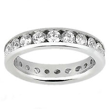 Women's Channel Set Eternity Band Ring Round Cut Diamond 14k White Gold 1.85ct